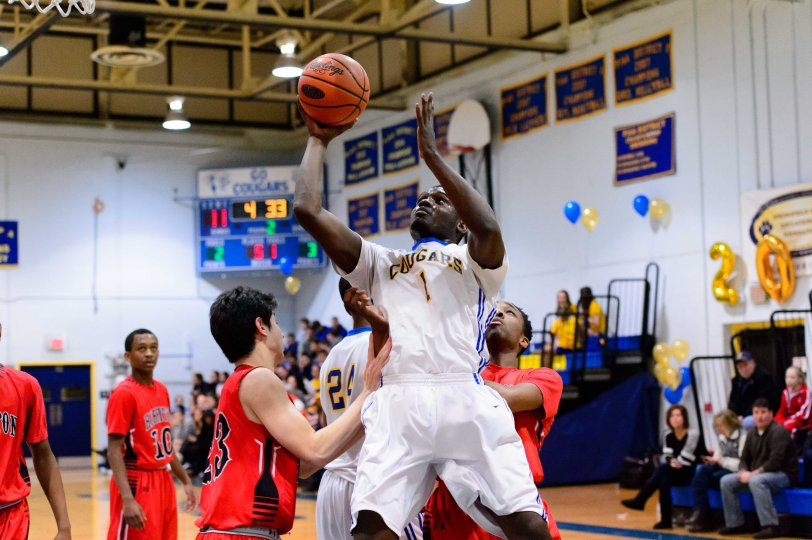 Springfield's Quideer Wimes, seen here against Harriton Feb. 3, has stepped up his game of late. (Special to the Times)