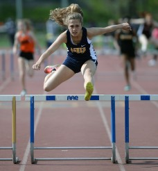 Agnes Irwin's Marin Bloise, the top 300 hurdler in Delco. (Times Staff/TOM KELLY IV)