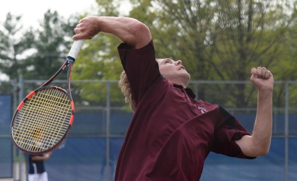 Radnor's Will Frigerio serves during the first singles match with Unionville's Zeyad Zaki during a District One Class AAA tennis match with Unionville. Frigerio helped lead Radnor to the PIAA Tournament. (Times Staff/TOM KELLY IV)