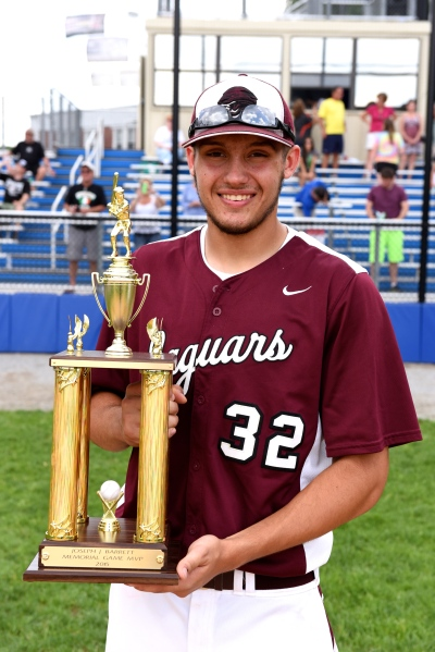 Garnet Valley's Ben Faso, seen here with the Barrett Game MVP trophy, was among the county leaders in most statistical categories this spring. (Courtesy Paul Bogosian).