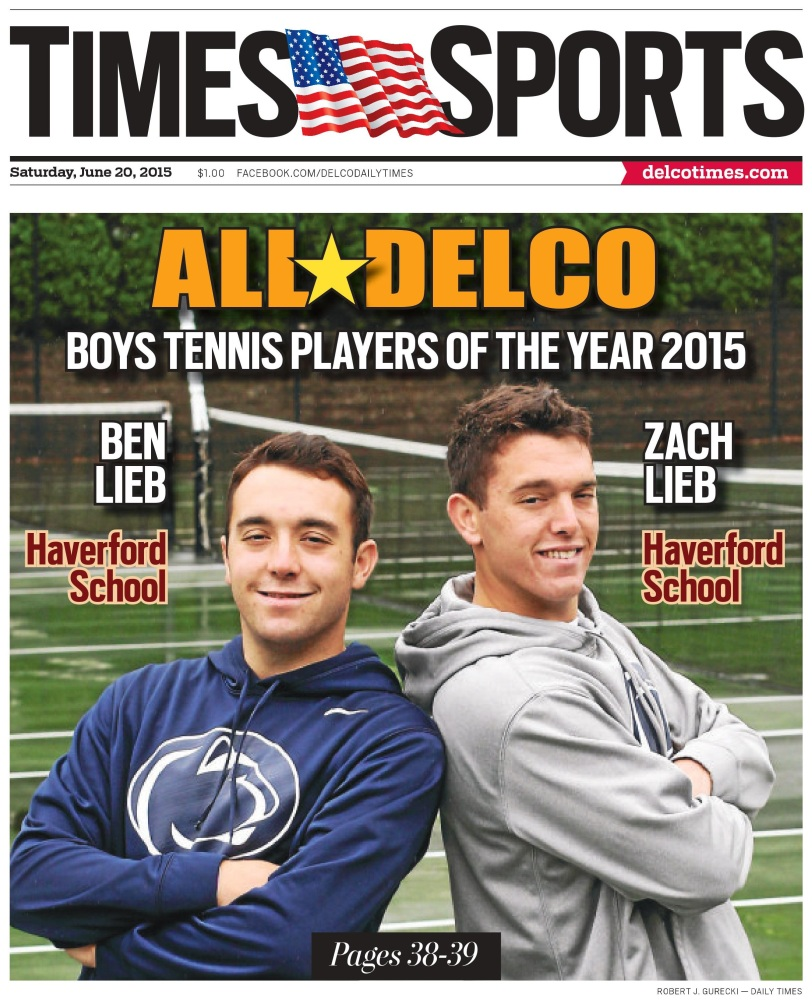 Haverford School's Ben and Zach Lieb are the 2015 Boys Tennis Players of the Year. (Times Staff/ROBERT J. GURECKI)