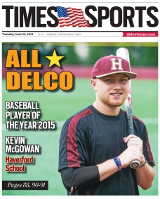 The 2015 Daily Times Baseball Player of the Year is Haverford School's Kevin McGowan. (Times Staff/RICK KAUFFMAN)