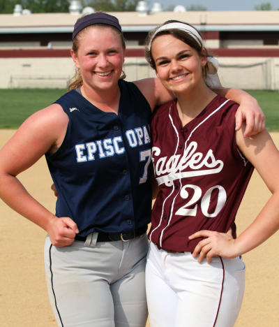 Episcopal's Alex Viscusi, left, and friend and good pal Meghan Wimmer of Chichester did a ton of damage on the mound and at the plate this season.